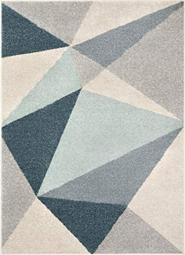 Well Woven Easton Modern Abstract Geometric Triangles Blue Grey Area Rug 8×11 7 10 x 9 10
