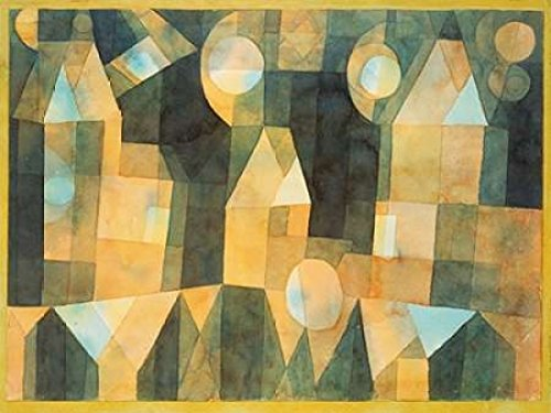 Three Houses and a Bridge Poster Print by Paul Klee (11 x 14)