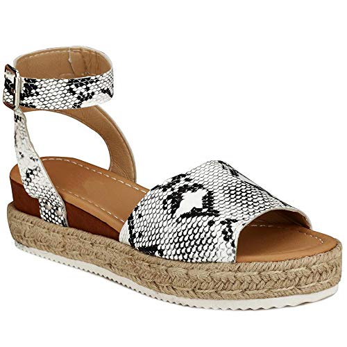 Dreamys Womens Flatform Sandals Ankle Strap Buckle Open Toe Faux Leather Studded Wedge Summer Espadrilles Sandals (Snakeskin Pattern,8 M US)