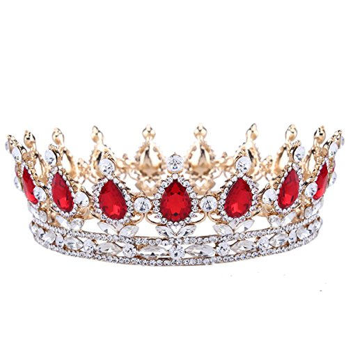 Santfe 2 Height Silver and Gold Plated Crystal Rhinestone Ruby Full Circle Tiara Crown Bridal Wedding Jewelry Hair Accessories (41-gold-red)