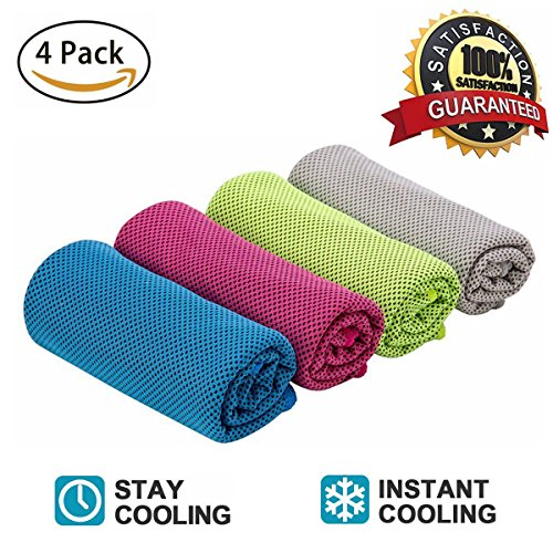 Sweat Towel On Neck: Cooling Towels 4 Pack, Ice Sports Towel, Instant Cooling