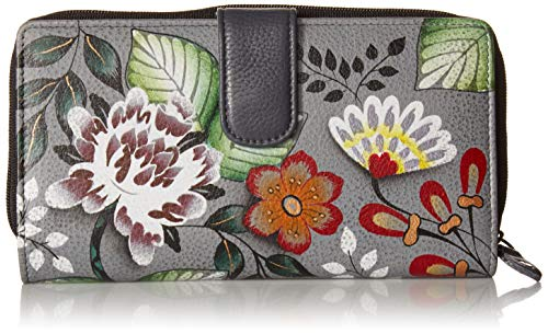 Anna by Anuschka Hand Painted Leather | Two Fold Wallet/Clutch | Garden Off ()