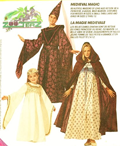 Mccalls Costume Patterns Medieval (McCall's 8937 Costume Pattern Medieval Dress; Child Size 5,6, Hooded Cape; Wizard Outfit. Desgns By Zooterz)