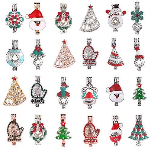 10pcs Mixed Christmas Wreath Jingling Bell Snowflake Snowman Gloves Enamel and Crystal Set Pearl Cage Pendant Cage for Pearl Essential Oil Scent Diffuser Necklace Jewelry Making Supplies (Enamel Wreath Charm)