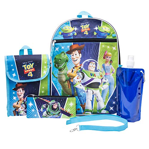 Toy Story Backpack Combo Set - Disney Pixar Toy Story Boys' 6 Piece Backpack Set - Woody & Buzz Lightyear Backpack & Lunch Kit (Blue)]()