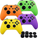 MXRC Silicone rubber cover skin case anti-slip Customize for Xbox One/S/X controller x 4(green & orange & purple & yellow) + FPS PRO extra height thumb grips x 8