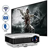 LCD Smart 3600 lumens WXGA Projector Wireless 1080p 1080i 720p Video Beamer Digital Widescreen Home Theater Outdoor Movie Gaming Projector Android HDMI VGA AV USB Audio for DVD Blu ray Player TV Wii