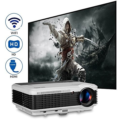 LCD Smart 3600 lumens WXGA Projector Wireless 1080p 1080i 720p Video Beamer Digital Widescreen Home Theater Outdoor Movie Gaming Projector...