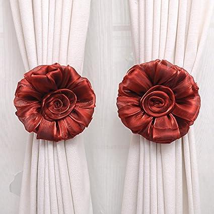 TR.OD 1Pair Window Curtain Tieback Rose Flower Tie Back Holder Drape Colorful Gray HITTIME