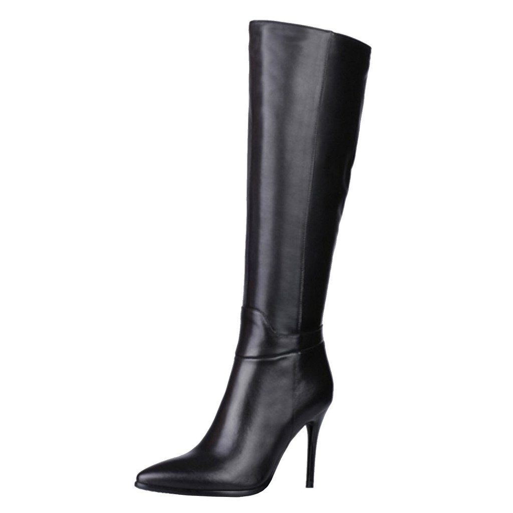 Dance&Style Women's Froie Autumn Winter Pointed Toe Stiletto Heels Knee High Boot B013WSQLO0 8.5 B(M) US|Black-m