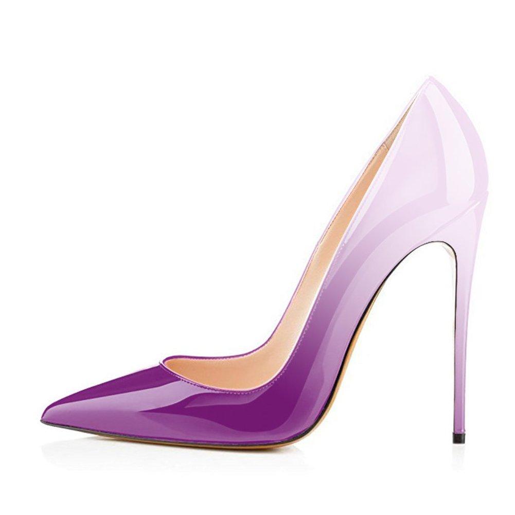 Gradient Purple UMEXI Women Pointed Toe High Heels Slip on Stilettos Wedding Party Dress shoes Plus Size Pumps