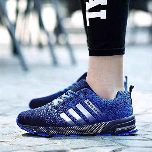 Pictures of KUBUA Mens Running Shoes Trail Fashion Sneakers Tennis Sports Casual Walking Athletic Fitness Indoor and Outdoor Shoes for Men EU 45/11 D(M) US F Blue 2