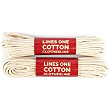 LinesOne Cotton Clothesline Rope 2x50 Ft (100 Ft) - 3/16 Inch Dia. White cord for drying clothes