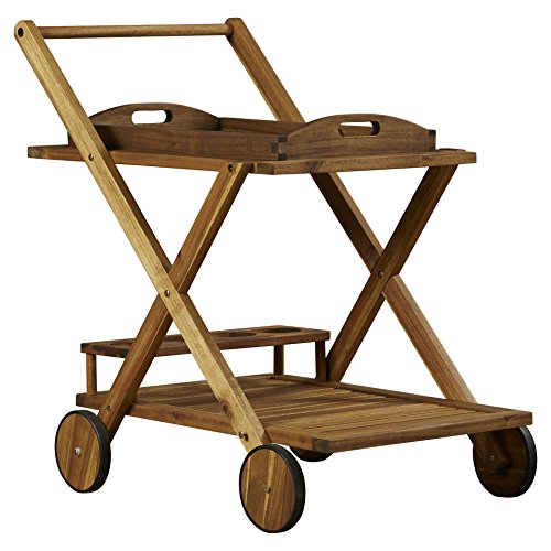 Beachcrest Home Deer Island Serving Cart, Bar Serving Cart, Distressed by Beachcrest Home (Image #2)