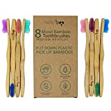 Bamboo Toothbrush for Adults 8-Pack Biodegradable Tooth Brush Set - Organic Eco-Friendly Moso Bamboo with Ergonomic Handles & Medium BPA Free Nylon Bristles | By HELLO BOO (Adults)
