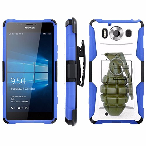 Price comparison product image [ArmorXtreme] Case for Microsoft Lumia 950 Black / Blue [Combat Armor Heavy Duty Case with Holster] - [Grenade]