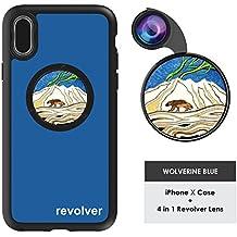 Ztylus Designer Revolver M Series Camera Kit: 4 in 1 Lens with Case for iPhone X– Fisheye Lens, Wide Angle Lens, Macro Lens, CPL (Wolverine Blue)