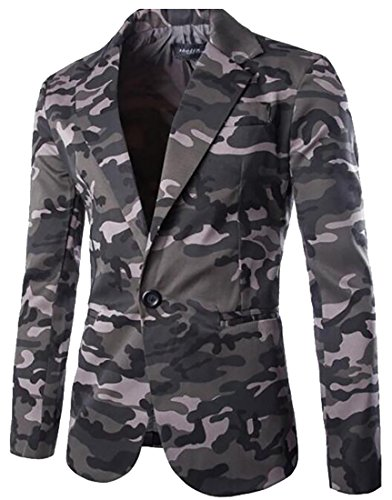 ainr Men's Long Sleeve Lapel Classic Camouflage Printing Suit Blazers Grey M