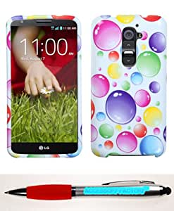 Accessory Factory(TM) Bundle (Phone Case, 2in1 Stylus Point Pen) LG D800 (G2) Rainbow Bigger Bubbles Phone Protector Cover