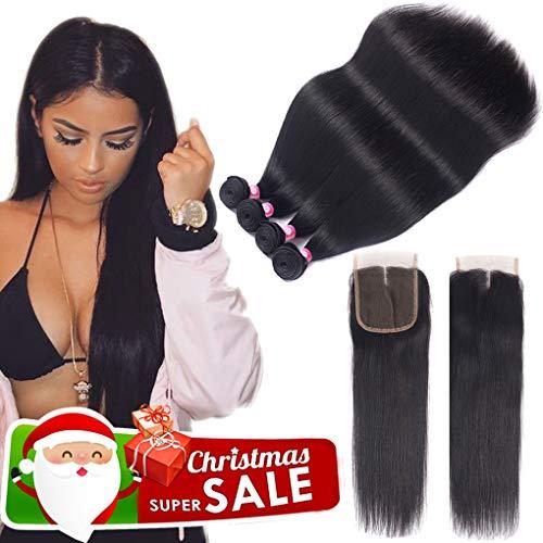 10A Brazilian Virgin Hair 4 Bundles With Closure (22 24 26 28+18 closure 43fa86ccb27