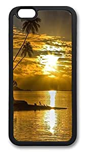 iPhone 6 4.7inch Case and Cover Sunset And Palm Trees TPU Silicone Rubber Case Cover for iPhone 6 4.7inch Black