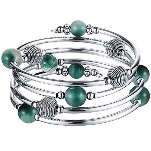 Pearl&Club Beaded Chakra Bangle Turquoise Bracelet - Fashion Jewelry Wrap Bracelet with Thick Silver Metal and Mala Beads, Birthday Gifts for Women (63-Jade Green)