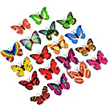 JINGBOSHI 12PCS Butterfly Lights, Flashing Colorful 3D Butterfly Wall Stickers for Girl Bedroom Baby Kids Toy Gift, Creative LED Small Lamp Night Light Stickers Home Decor Room Decoration