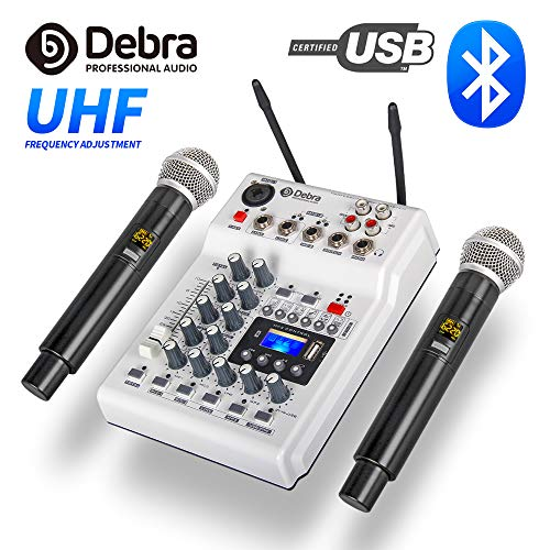 Debra Audio DJ Console Mixer Soundcard with 2channel UHF wireless microphone for Home Studio Recording DJ Network Live Karaoke (Best Karaoke Mixer 2019)