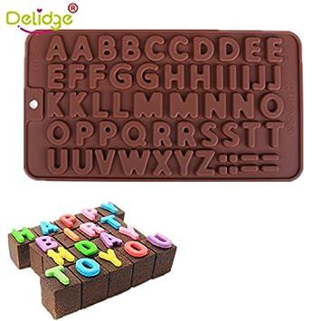 Delidge1 - Moldes para tartas con 26 letras en 3D o con números de 0 a 9, diseño de moldes de chocolate: Amazon.es: Hogar