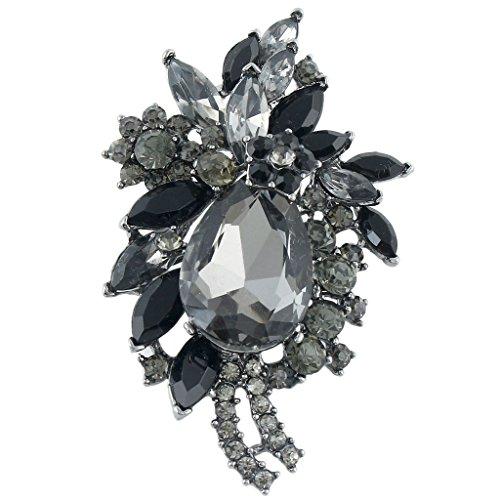 Black Pin Pendant - EVER FAITH Women's Rhinestone Crystal Vintage Style Flower Teardrop Brooch Pendant Black Black-Tone