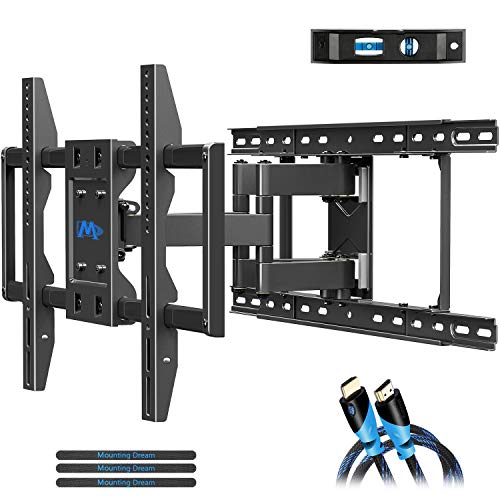 "Mounting Dream TV Wall Mounts TV Bracket for 42-70 Inch TVs, Premium TV Mount, Full Motion TV Wall Mount with Articulating Arms, Max VESA 600x400mm and 100 LBS, Fits 16"", 18"", 24"" Studs MD2296-24K"