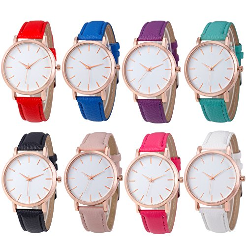 Womens Quartz Watches,COOKI Unique Analog Fashion Clearance Lady Watches Female watches on Sale Casual Watches for Women,Round Dial Case Comfortable PU Leather Watch-H12