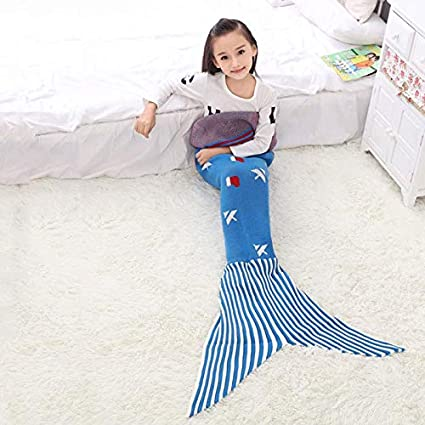 JUFENG Mermaid Tail Manta Crochet Mermaid Tail Manta Tejer Saco De Dormir Handcraft para Niños,