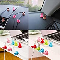 Iuhan New 6 x Cable Clip Desk Tidy Wire Drop Lead USB Charger Cord Holder Secure Table ( Color Random )
