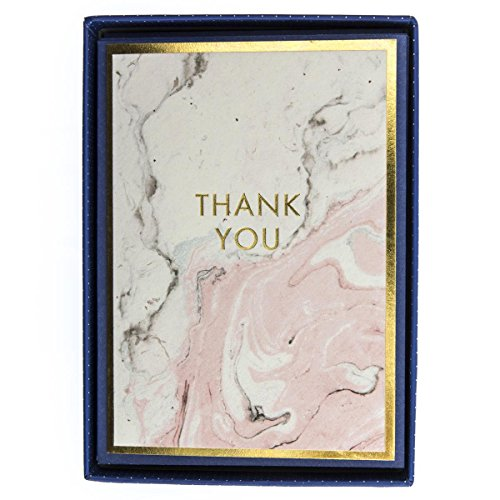 Graphique Pink Marble Boxed Notecards, 16 Embellished Gold