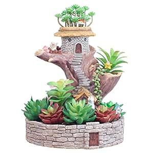 Creative Cartoon miniatura casa en el árbol plantas maceta decoración del hogar jarrón suculentas macetas DIY árbol Escultura multicapa maceta decorativa de flores, Resina, Bunny Tree House, S