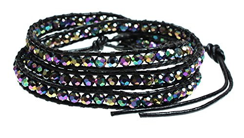 (BIG SUR Three Times Leather Wrap Bracelet Handwoven with Sparkling Iridescent Beads)