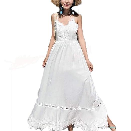 Vestido, Playa Falda Tirantes Femeninos Falda Blanca Falda Larga 4 ...
