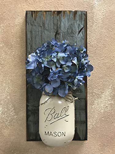 Wall SCONCE Mason Canning Glass Ball JAR with Flower (optional) - Reclaimed Country Rustic Decor - RIVER ROCK Blue Gray Grey *Hand Painted & Distressed Jar with twine is available in a many colors!