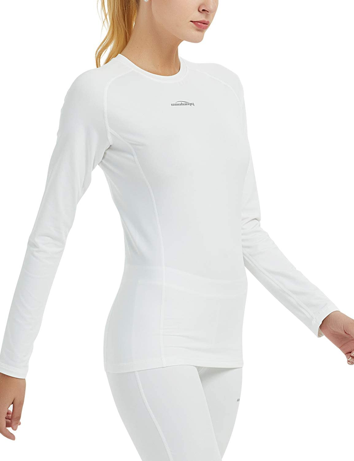 COOLOMG Damen Kompressionsshirt Langarm Funktionsw/äsche Base Layer Winter Thermow/äsche Sport Joggen