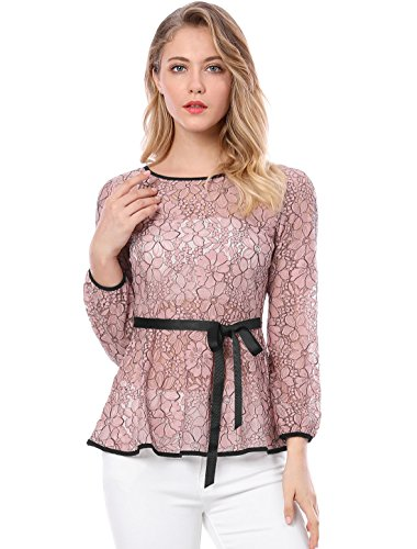Allegra K Women's Tie Waist Formal Long Sleeve Semi Sheer Lace Peplum Top Pink XS (US 2)