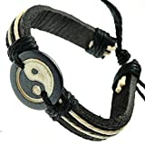 Best Bracelets Ying Yangs - Black And Cream Leather Bracelet With Ying Yang Review