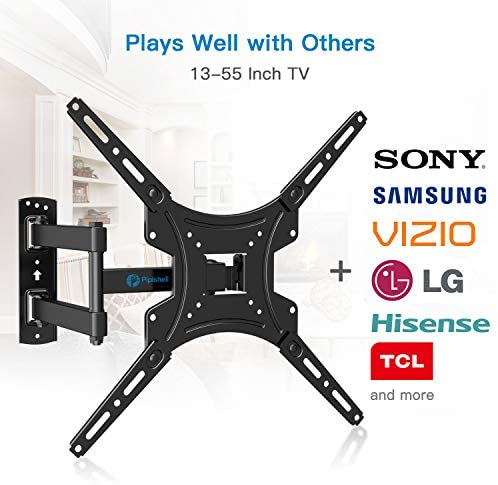 Full Motion TV Wall Mount Bracket Articulating Arms Swivels Tilts Extension Rotation for Most 13-55 Inch LED LCD Flat Curved Screen TVs, Max VESA 400x400mm as much as 66lbs through Pipishell