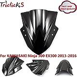 ninja 300 windscreen - Triclicks Double Bubble Windscreen Windshield for KAWASAKI Ninja EX 300 2013-2016 BLACK