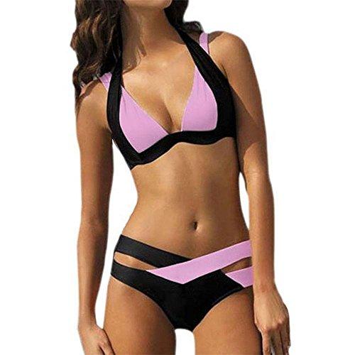 TOYUN Bikini Split Traje De BañO Color MáS Fertilizante Para Aumentar Las Vacaciones De Playa Pink
