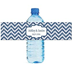 "100 Chevron Blue glitter Background Wedding Water Bottle Labels Engagement Party 8""x2"""