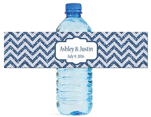 100 Chevron Blue glitter Background Wedding Water Bottle Labels Engagement Party 8