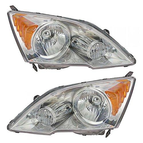 Headlights Headlamps Left & Right Pair Set of 2 for 07-11 Honda CR-V CRV