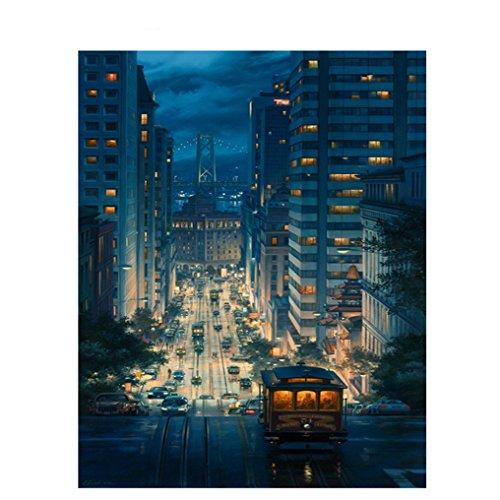 LovetheFamily 数字油絵 数字キット塗り絵 手塗り DIY絵 デジタル油絵 都市の夜景 40x50cm ホーム オフィス装飾
