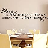BOLLEPO Kitchen Wall Stickers Home Decor, Dining & Cooking Quote Decal Heart Removable Vinyl Art Decoration (Bless The Food Before Us, The Family Beside Us, and The Love Between Us, Amen)